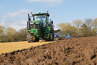 Ploughing one year grass ley with Lemken plough, furrow press & John Deere 8370 T using RTK autosteer - Lincolnshire, March