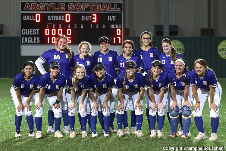 Boswell beats Denton Ryan 17-0 in bi-district high school softball at Argyle High School on Thursday, April 25, 2019. (Photo by Khampha Bouaphanh)