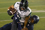 Hawaii wide receiver Jason-Matthew Sharsh (3) is tackled by Nevada defensive back Emany Johnson in the first half of an NCAA college football game in Reno, Nev. Saturday, Sept. 28, 2019. (AP Photo/Tom R. Smedes)