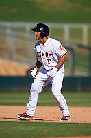 Glendale Desert Dogs Ramon Laureano (15), of the Houston Astros organization, during a game against the Mesa Solar Sox on October 20, 2016 at Camelback Ranch in Glendale, Arizona.  Glendale defeated Mesa 3-2.  (Mike Janes/Four Seam Images)