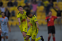 Phoenix's Ulises Davila celebrates with Callum McCowatt (right) during the A-League football match between Wellington Phoenix and Brisbane Roar at Westpac Stadium in Wellington, New Zealand on Saturday, 23 November 2019. Photo: Dave Lintott / lintottphoto.co.nz