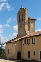 France, Aquitaine, Pyrénées-Atlantiques, Pays Basque, Lahonce: L'abbaye de chanoines de Prémontré, actuellement église paroissiale de l'Assomption-de-la-Bienheureuse-Vierge-Marie  //  France, Pyrenees Atlantiques, Basque Country, Lahonce  Canons of Prémontré Abbey Church, now Parish Church of l'Assomption-de-la-Bienheureuse-Vierge-Marie,