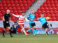 Kevin O'Connor of Fleetwood Town wins the ball during the Sky Bet League 1 match between Doncaster Rovers and Fleetwood Town at the Keepmoat Stadium, Doncaster, England on 17 February 2018. Photo by Leila Coker / PRiME Media Images.