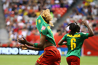 June 12, 2015: Gaelle ENGANAMOUIT of Cameroon reacts after missing a goal during a Group C match at the FIFA Women's World Cup Canada 2015 between Cameroon and Japan at BC Place Stadium on 12 June 2015 in Vancouver, Canada. Japan won 2-1. Sydney Low/AsteriskImages