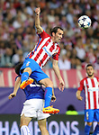 Atletico de Madrid's Diego Godin (r) and Leicester City FC's Shinji Okazaki during Champions League 2016/2017 Quarter-finals 1st leg match. April 12,2017. (ALTERPHOTOS/Acero)