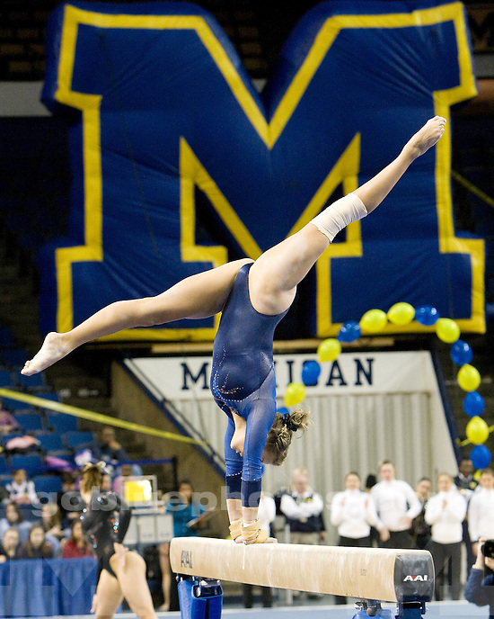 University of Michigan gymnastics victory over Iowa and Bowling Green at Crisler Arena on 1/9/10.