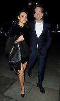 "Keeley Hawes & Matthew Macfadyen<br /> The ""Barking In Essex"" press night afterparty, The Crypt, St Martin-in-the-Fields Church, Charing Cross Rd., London, England.<br /> September 16th, 2013<br /> full length black dress blue suit white shirt couple bag purse velvet<br /> CAP/CAN<br /> ©Can Nguyen/Capital Pictures"