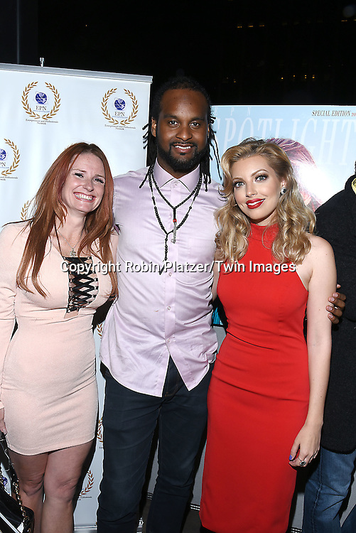 April Malloy, Noble Jolley and Dalal/ Dalal Bruchmann. Recording Artist,Composer and Actress attends the &quot;EPN Spotlight Magazine&quot;  launch party on June 10, 2016 at the Renaissance NY Hotel in New York, New York, USA. Dalal Bruchmann is the cover model.<br /> <br /> photo by Robin Platzer/Twin Images<br />  <br /> phone number 212-935-0770