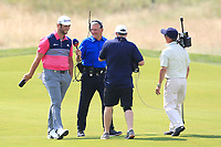 Jon Rahm (ESP) being interviewed walking down the 10th fairway during Round 3 of the HNA Open De France at Le Golf National in Saint-Quentin-En-Yvelines, Paris, France on Saturday 30th June 2018.<br /> Picture:  Thos Caffrey | Golffile