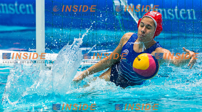 Eindhoven , Netherlands (NED) 20/1/2012.LEN European  Water Polo Championships 2012.Day 05 - Women.Germany (White) - Greece (Blue)..GRE.1 KOUVDOU Eleni..Photo Insidefoto / Giorgio Scala