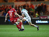 29th September 2017, Parc y Scarlets, Llanelli, Wales; Guinness Pro14 Rugby, Scarlets versus Connacht; Jack Carty of Connacht makes an attempt to beat Scott Williams of Scarlets