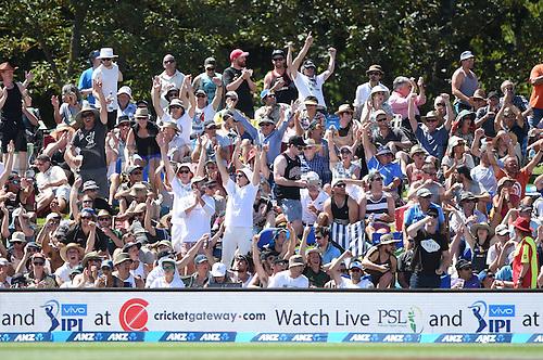 20.02.2016. Christchurch, New Zealand.  Fans. New Zealand Black Caps versus Australia. Day 1, 2nd test match, Hagley Oval in Christchurch, New Zealand. Saturday 20 February 2016.