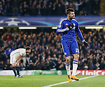 Chelsea's Diego Costa celebrates scoring his sides opening goal <br /> <br /> - UEFA Champions League - Chelsea vs Paris Saint Germain - Stamford Bridge - London - England - 9th March 2016 - Pic David Klein/Sportimage