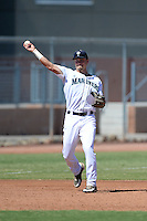 Seattle Mariners third baseman Jay Baum (2) during an Instructional League game against the Milwaukee Brewers on October 4, 2014 at Peoria Stadium Training Complex in Peoria, Arizona.  (Mike Janes/Four Seam Images)