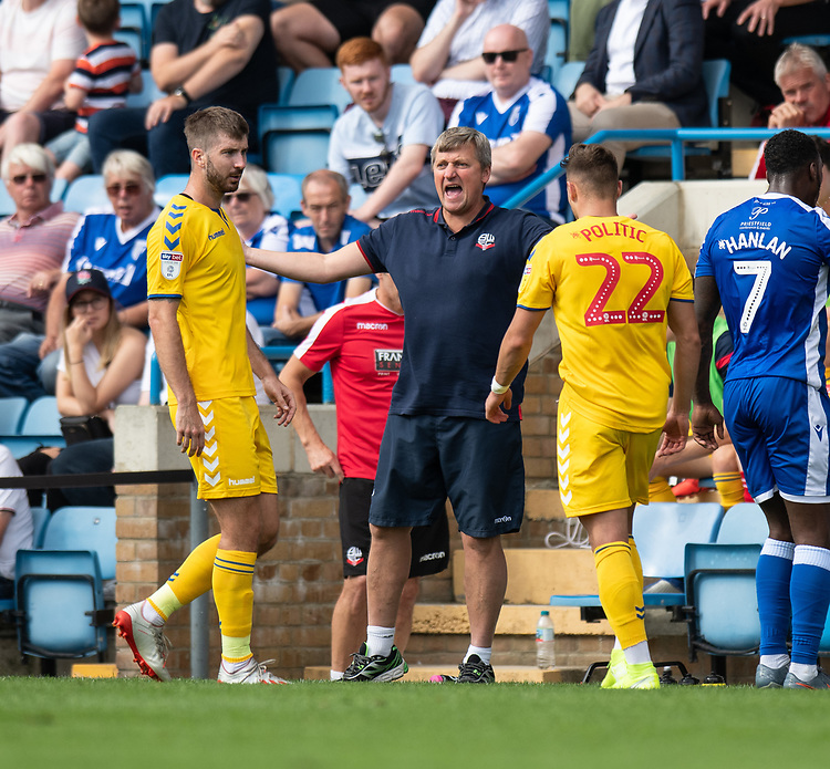 Bolton Wanderers manager Jimmy Phillips not happy with the tackle on Bolton Wanderers' Dennis Politic <br /> <br /> Photographer David Horton/CameraSport<br /> <br /> The EFL Sky Bet League One - Gillingham v Bolton Wanderers - Saturday 31st August 2019 - Priestfield Stadium - Gillingham<br /> <br /> World Copyright © 2019 CameraSport. All rights reserved. 43 Linden Ave. Countesthorpe. Leicester. England. LE8 5PG - Tel: +44 (0) 116 277 4147 - admin@camerasport.com - www.camerasport.com