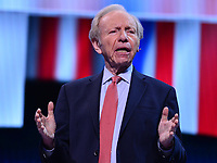 Washington, DC - March 24, 2019: Former U.S. Senator Joe Lieberman pays tribute to the late Sen. John McCain during the AIPAC Policy Conference at the Washington Convention Center, March 24, 2019.  (Photo by Don Baxter/Media Images International)