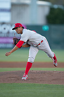 Lakewood BlueClaws starting pitcher Ranger Suarez (18) follows through on his delivery against the Kannapolis Intimidators at Kannapolis Intimidators Stadium on April 8, 2017 in Kannapolis, North Carolina.  The BlueClaws defeated the Intimidators 8-4 in 10 innings.  (Brian Westerholt/Four Seam Images)