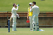 November 4th 2017, WACA Ground, Perth Australia; International cricket tour, Western Australia versus England, day 1; England batsmen Mark Stoneman (L) and James Vince take a break from the Perth heat during their partnership