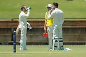 November 4th 2017, WACA Ground, Perth Australia; International cricket tour, Western Australia versus England, day 1; England batsmen Mark Stoneman (L) and James Vince take a break from the Perth heat during their partnership