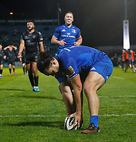 1st November 2019; RDS Arena, Dublin, Leinster, Ireland; Guinness Pro 14 Rugby, Leinster versus Dragons; James Lowe of Leinster puts the ball down for a try - Editorial Use