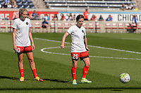 Bridgeview, IL - Sunday June 12, 2016: Allie Long, Meghan Klingenberg during a regular season National Women's Soccer League (NWSL) match between the Chicago Red Stars and the Portland Thorns at FC Toyota Park.
