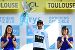 Egan Bernal (COL) Team Ineos retains the young riders White Jersey at the end of Stage 11 of the 2019 Tour de France running 167km from Albi to Toulouse, France. 17th July 2019.<br /> Picture: ASO/Alex Broadway | Cyclefile<br /> All photos usage must carry mandatory copyright credit (© Cyclefile | ASO/Alex Broadway)