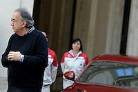 Roma, 5 Maggio 2016<br /> Sergio Marchionne e lavoratori di Cassino<br /> Presentazione a Palazzo Chigi della nuova automobile Alfa Romeo Giulia.<br /> <br /> Il Presidente di Fiat Chrysler Automobiles John Elkann, il primo ministro italiano Matteo Renzi e l'amministratore delegato di Fiat Chrysler Automobiles Sergio Marchionne partecipano alla presentazione dell'ultima macchina di casa automobilistica italiana Alfa Romeo Giulia.<br /> <br /> Chairman of Fiat Chrysler Automobiles John Elkann, Italian Prime Minister Matteo Renzi and CEO of Fiat Chrysler Automobiles Sergio Marchionne attend the unveiling of Italian car manufacturer Alfa Romeo's latest car The Alfa Romeo Giulia ,on May 5, 2016 in Rome, Italy.