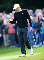 Matthew Fitzpatrick of England celebrates holing a birdie putt on the 15th green during Round 4 of the 2015 British Masters at the Marquess Course, Woburn, in Bedfordshire, England on 11/10/15.<br /> Picture: Richard Martin-Roberts | Golffile
