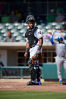 Augusta GreenJackets catcher Andres Angulo (1) during a South Atlantic League game against the Lexington Legends on April 30, 2019 at SRP Park in Augusta, Georgia.  Augusta defeated Lexington 5-1.  (Mike Janes/Four Seam Images)