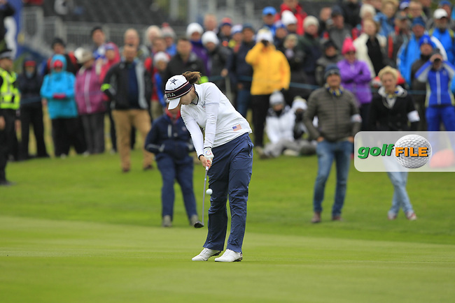 Brittany Altomare of Team USA on the 1st fairway during Day 2 Fourball at the Solheim Cup 2019, Gleneagles Golf CLub, Auchterarder, Perthshire, Scotland. 14/09/2019.<br /> Picture Thos Caffrey / Golffile.ie<br /> <br /> All photo usage must carry mandatory copyright credit (© Golffile   Thos Caffrey)