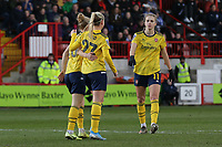Beth Mead of Arsenal scores the fourth goal for her team and celebrates with her team mates during Brighton & Hove Albion Women vs Arsenal Women, Barclays FA Women's Super League Football at Broadfield Stadium on 12th January 2020