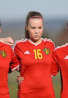 20150307 - TUBIZE , BELGIUM : Belgian Tabitha Lingier pictured during the friendly female soccer match between Women under 19 teams of  Belgium and Czech Republic . Saturday 7th March 2015 . PHOTO DAVID CATRY