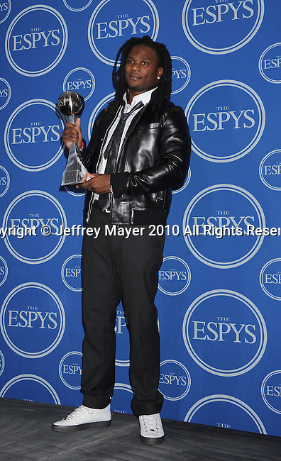 LOS ANGELES, CA. - July 14: NFL player Chris Johnson poses in press room during 2010 ESPY Awards at Nokia Theatre L.A. Live on July 14, 2010 in Los Angeles, California.