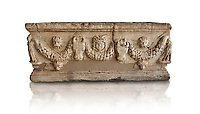 Roman relief garland sculpted sarcophagus.  Adana Archaeology Museum, Turkey. Against a white background