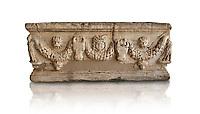 Roman relief garland sculpted sarcophagus.  Adana Archaeology Museum, Turkey. Against a white background