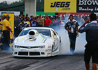Aug 29, 2014; Clermont, IN, USA; NHRA pro stock driver Shane Tucker during qualifying for the US Nationals at Lucas Oil Raceway. Mandatory Credit: Mark J. Rebilas-USA TODAY Sports
