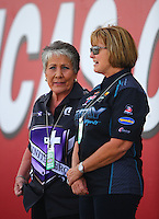 Apr 10, 2015; Las Vegas, NV, USA; NHRA sponsor Terry Chandler (left) and Terry Gray during qualifying for the Summitracing.com Nationals at The Strip at Las Vegas Motor Speedway. Mandatory Credit: Mark J. Rebilas-
