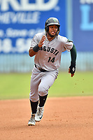 Augusta GreenJackets designated hitter Heliot Ramos (14) runs to third base during a game against the Asheville Tourists at McCormick Field on August 19, 2018 in Asheville, North Carolina. The Tourists defeated the GreenJackets 6-3. (Tony Farlow/Four Seam Images)