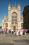 Abbey and churchyard with tourists, Bath