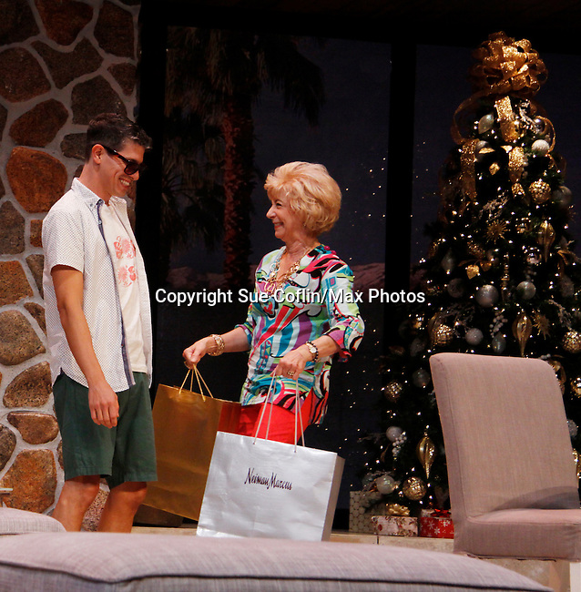 "Peggy J. Scott and Davy Raphaely in ""Other Desert Cities"" at the tech rehearsal (in costume) on October 14, 2015 at Whippoorwill Halll Theatre, North Castle Library, Kent Place, Armonk, New York.  (Photo by Sue Coflin/Max Photos)"