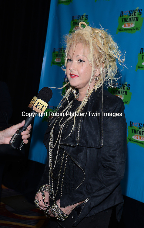 Cyndi Lauper attends Rosie O'Donnell's 11th Annual Rosie's Theater Kids Gala on September 22, 2014 at The New York Marriott Marquis in New York City. <br /> <br /> photo by Robin Platzer/Twin Images<br />  <br /> phone number 212-935-0770
