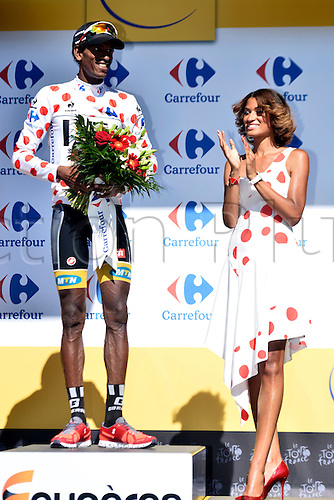 10.07.2015. Livarot, France.  TEKLEHAIMANOT Daniel of MTN - Qhubeka with the polka dot jersey pictured during the podium ceremony after stage 7 of the 102nd edition of the Tour de France 2015 with start in Livarot and finish in Fougeres, France (190 kms)