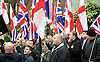 Far right activists protesting outside Regent's Park Mosque in Central London, Great Britain <br /> 3rd April 2015 <br /> <br /> <br /> Members of <br /> <br /> Britain First <br /> Paul Golding - in the centre <br /> <br /> <br /> Photograph by Elliott Franks <br /> Image licensed to Elliott Franks Photography Services