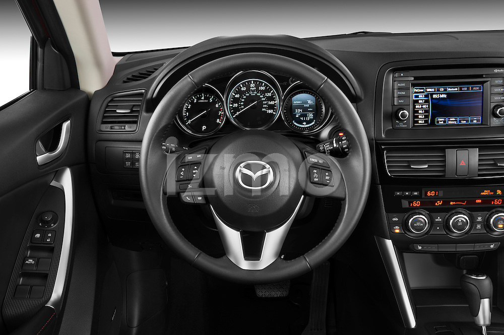 Steering wheel view of 2013 Mazda CX-5 GT Stock Photo