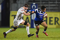 Max Ojomoh of Bath United takes on the Gloucester United defence. Premiership Rugby Shield match, between Bath United and Gloucester United on April 8, 2019 at the Recreation Ground in Bath, England. Photo by: Patrick Khachfe / Onside Images