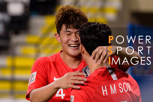 Kim Minjae of South Korea celebrates scoring his goal with teammate during the AFC Asian Cup UAE 2019 Group C match between South Korea (KOR) and China (CHN)  at Al Nahyan Stadium on 16 January 2019 in Abu Dhabi, United Arab Emirates. Photo by Marcio Rodrigo Machado / Power Sport Images