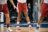 NORFOLK, VA--Athletic Trainer Marcella Shorty and Assistant Sports Performance Coach Susan Borchardt watch the action during an off-day practice session at the Ted Constant Convocation Center at Old Dominion University in Norfolk, VA in the 2012 NCAA Championships. The Cardinal will play West Virginia on Monday, March 19 to qualify for the West Regionals in Fresno.