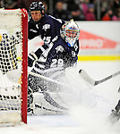 6 December 2009: University of New Hampshire Wildcats' goaltender Brian Foster, a Senior from Pembroke, NH, in action against the University of Vermont Catamounts at Gutterson Fieldhouse in Burlington, Vermont. The Wildcats defeated the Catamounts 5-2 in the Hockey East matchup. Mandatory Credit: Ed Wolfstein Photo