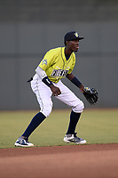 Shortstop Ronny Mauricio (2) of the Columbia Fireflies plays defense in a game against the Delmarva Shorebirds on Thursday, May 2, 2019, at Segra Park in Columbia, South Carolina. Delmarva won, 1-0. (Tom Priddy/Four Seam Images)