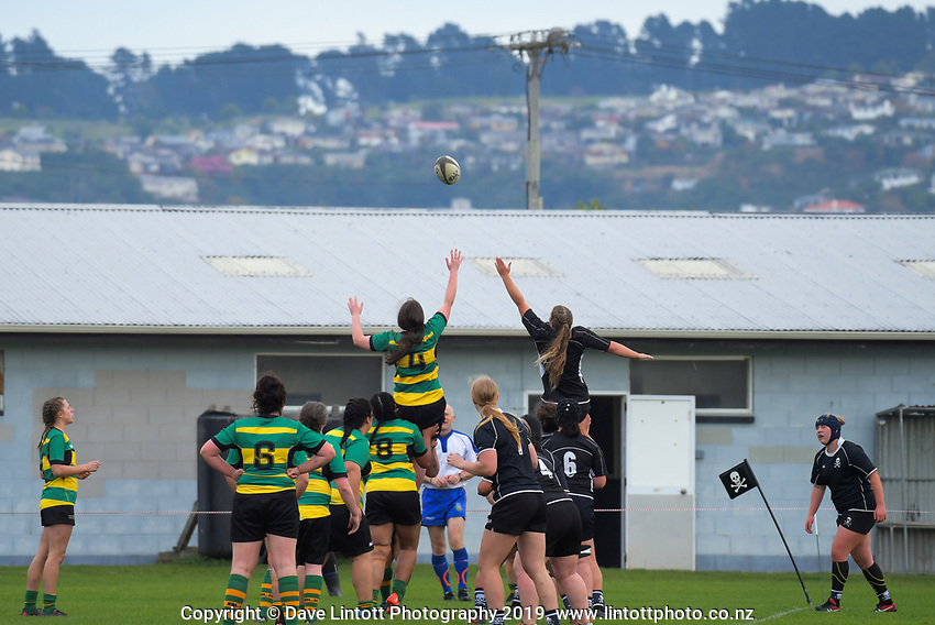 Action from the Otago women's rugby match between Pirates and Green Island at Hancock Park in Dunedin, New Zealand on Saturday, 11 May 2019. Photo: Dave Lintott / lintottphoto.co.nz